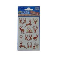 Motif christmas labels reindeer brown-gold