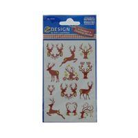 Motivo etiquetas para Navidad renos marrón-oro