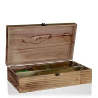 Natural wood wine chest for 2 bottles