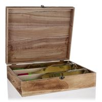 Natural wood wine chest for 3 bottles