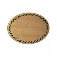 Oval, naturfärgad etikett, med grön rand, liten