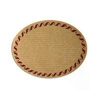 Oval, naturfärgad etikett, med röd rand, liten