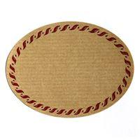 Oval, naturfärgad etikett, med röd snörrand