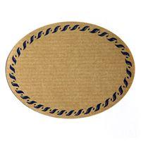 Oval, naturfarvet etiket med blå snorkant