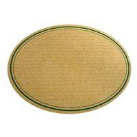 Oval, naturfarvet etiket med grøn snorkant