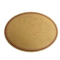 Oval, naturfarvet etiket med rød snorkant