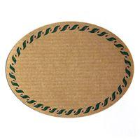 Owalna etykietka koloru naturalnego, z brzegiem haftowanym na zielono