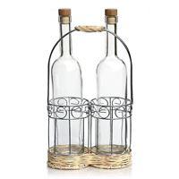 Porta-botellas DUO de metal cromado y rattan