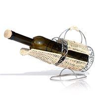 Porta-botellas de metal cromado y rattan
