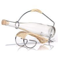 Porta bottiglie in vimine e metallo cromato