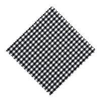 Servietta in stoffa a scacchi nero 15cmx15cm con nastro in tessuto