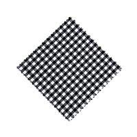 Serwetka z materiału, 12x12cm, czarna karo, z wstążką