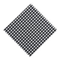 Serwetka z materiału, 15x15cm, czarna karo, z wstążką