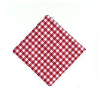 Serwetka z materiału, 15x15cm, czerwona karo, z wstążką