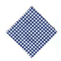 Tygbit, karo-blå, 15x15cm, med tygrosett