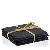 Underlägg i skiffer, fyrkantigt (4-pack)