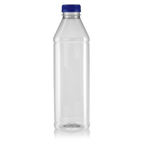 "1000ml Botella PET con gollete ancho ""Milk and Juice Carree"" azul"