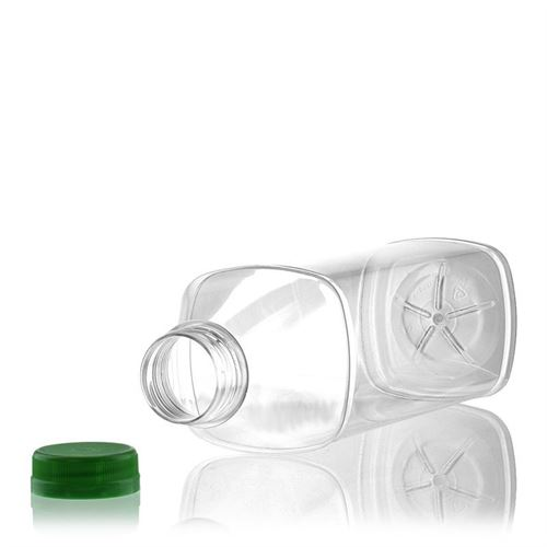 "1000ml Botella PET con gollete ancho ""Milk and Juice Carree"" verde"