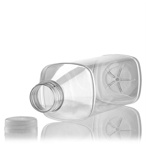 """1000ml Bottiglia PET a collo largo """"Milk and Juice Carree"""" bianco"""