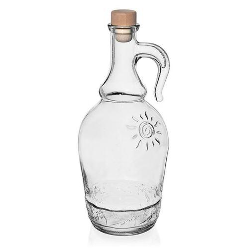 """1000ml Klarglasflasche """"Sunny"""" mit Henkel"""