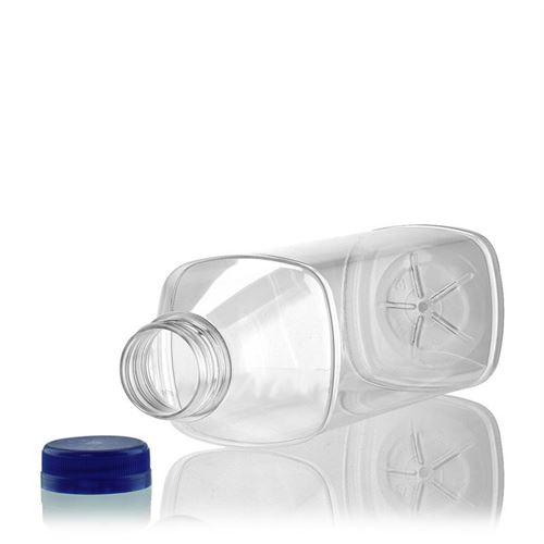 "1000ml PET Weithalsflasche ""Milk and Juice Carree"" blau"