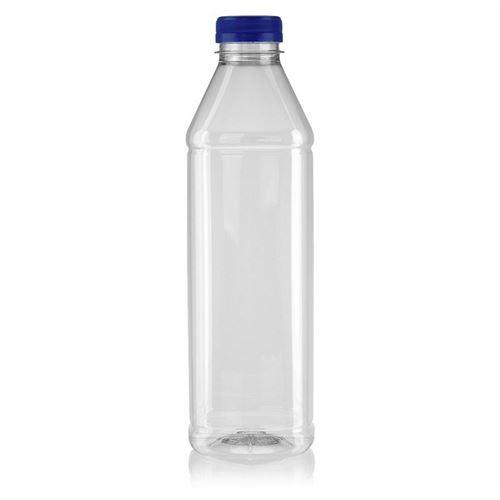 "1000ml bouteille col large PET ""Milk and Juice Carree"" bleu"
