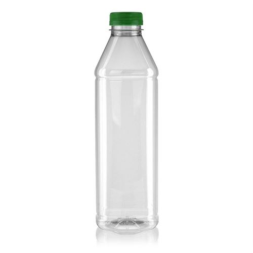 "1000ml bouteille col large PET ""Milk and Juice Carree"" vert"