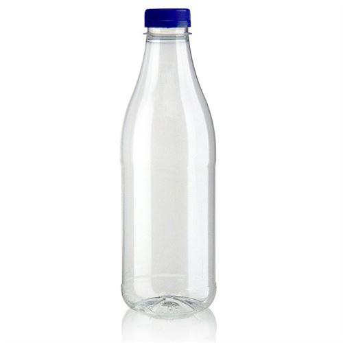 """1000ml Botella PET con gollete ancho """"Milk and Juice"""" azul"""