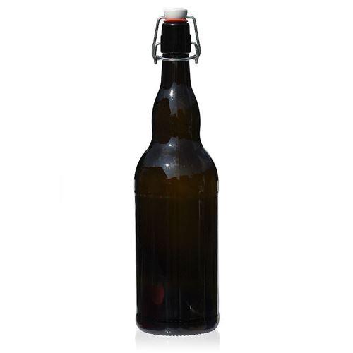"""1000ml bottiglia per birra in vetro marrone """"Mondo"""" con chiusura meccanica"""