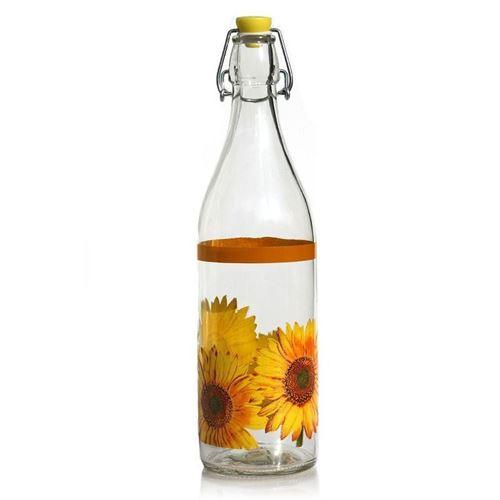 """1000ml Bügelverschlussflasche """"Sonnenblumen"""""""