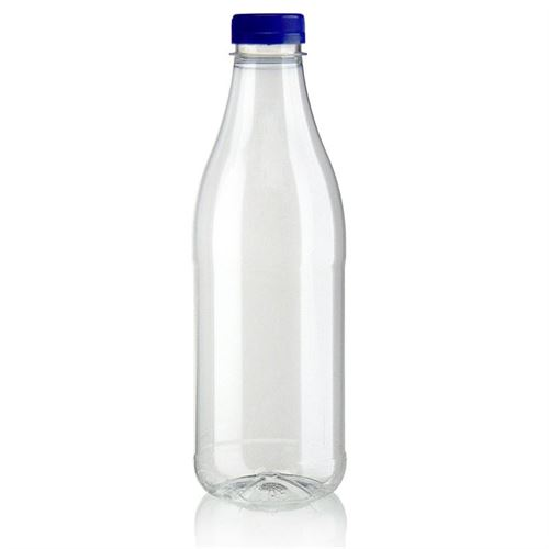 "1000ml PET Weithalsflasche ""Milk and Juice"" blau"
