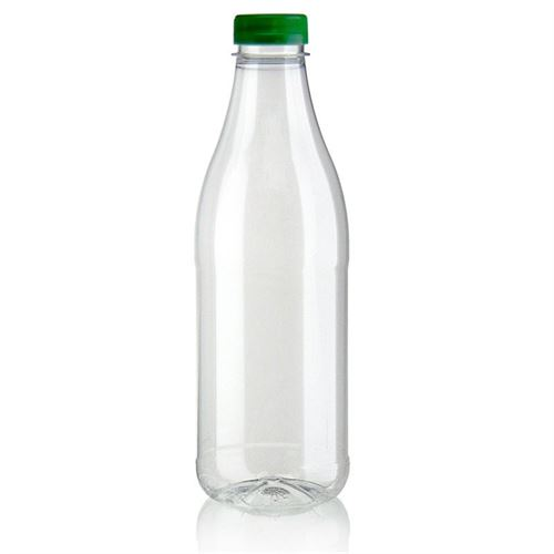 "1000ml PET Weithalsflasche ""Milk and Juice"" grün"