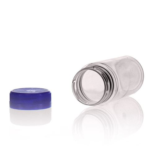 "100ml Bottiglia PET a collo largo ""Everytime"" blu"