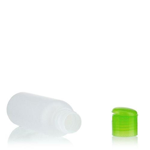 """100ml HDPE-Flasche """"Tuffy"""" natur/grün mit Klappscharnier"""