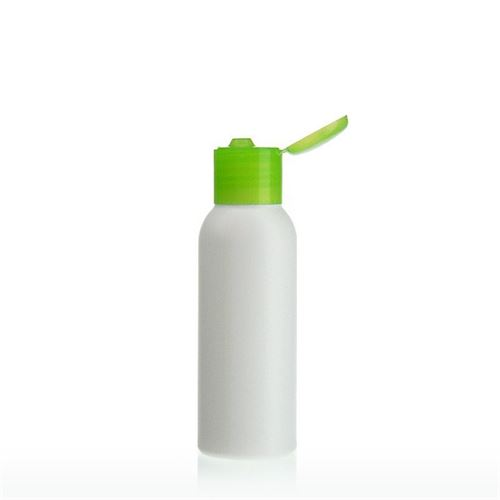 "100ml HDPE bottle ""Tuffy"" green with hinge"
