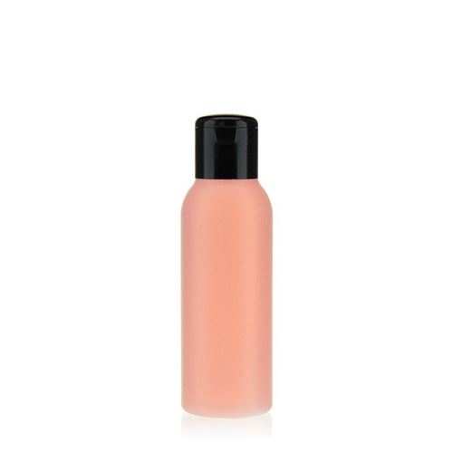 """100ml HDPE bottle """"Tuffy"""" natural/black with flip top closure"""