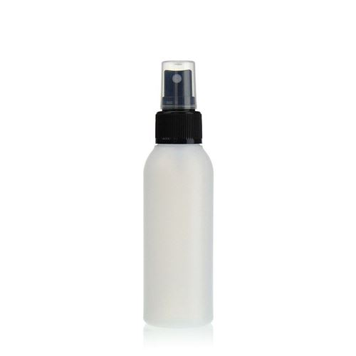 "100ml HDPE bottle ""Tuffy"" natural/black with nozzle system"