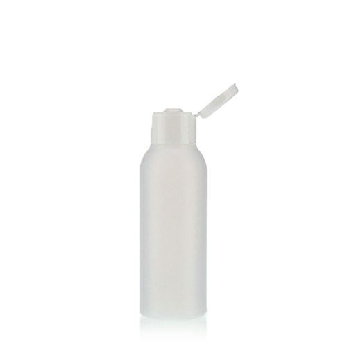 "100ml HDPE-flaske ""Tuffy"" natur/hvid, med klaplåg"
