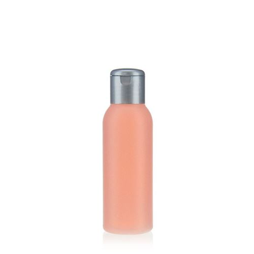 """100ml bottiglia HDPE """"Tuffy"""" natura/argento con tappo Flip top"""
