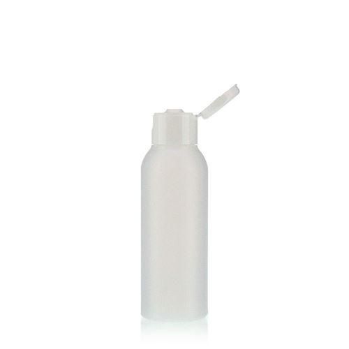 """100ml bottiglia HDPE """"Tuffy"""" natura/bianco con tappo Flip top"""