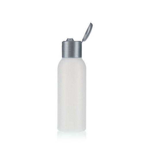 """100ml bouteille HDPE """"Tuffy"""" nature/argente avec couvercle à clapet"""