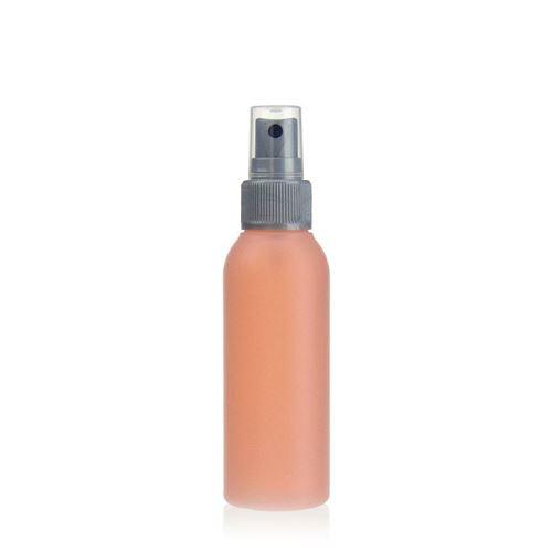 """100ml bouteille HDPE """"Tuffy"""" nature/argente avec tête de pulvérisation"""