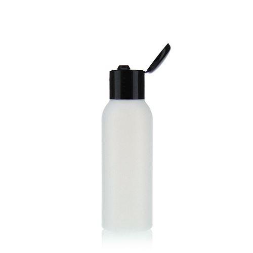 """100ml bouteille HDPE """"Tuffy"""" nature/noir avec couvercle à clapet"""