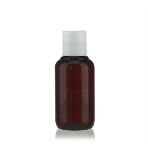 """100 ml bouteille en PET brun """"Victor's Best"""" avec DiscTop, blanc"""