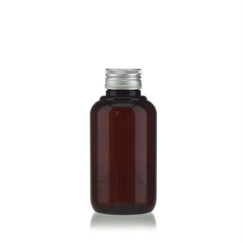 """100 ml bouteille en PET brun """"Victor's Best"""" avec fermeture à vis PP24, argenté"""