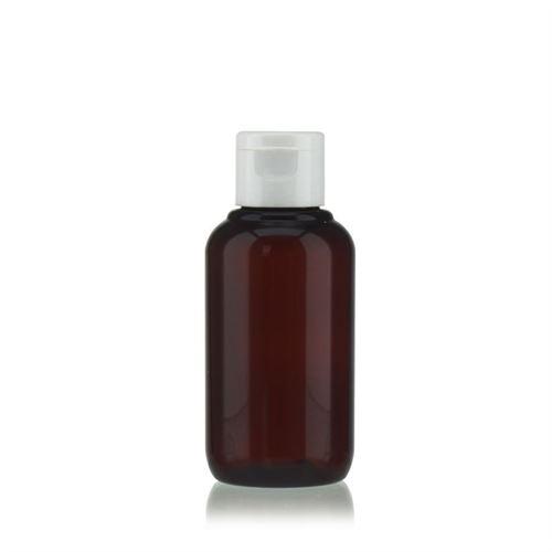 """100 ml bouteille en PET brun """"Victor's Best"""" avec couvercle à clapet, blanc"""