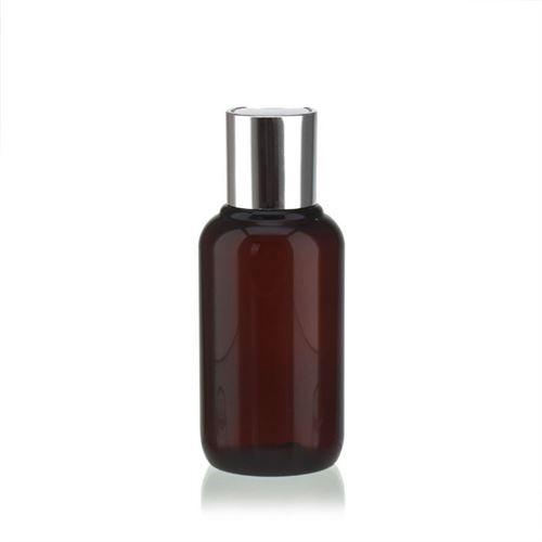 """100ml braune PET-Flasche """"Victor's Best"""" mit DiscTop, silber"""