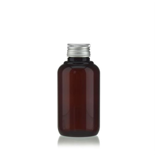 "100 ml brun PET-flaske ""Victor's Best"", med sølvfarvet skruelåg PP24"
