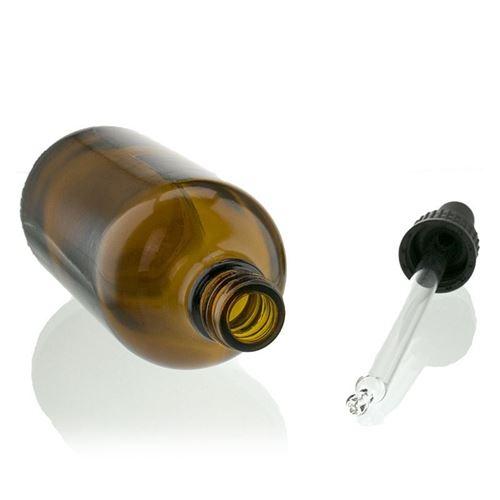 100ml flacon de médecine brun avec noir pipette