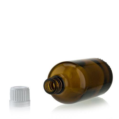 100ml brun medicinflaska, med originalitetsförslutning